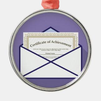 Certificado en vector del sobre adorno navideño redondo de metal