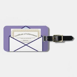 Certificado en vector del sobre etiquetas para maletas