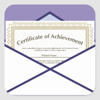 Certificado en vector del sobre pegatina cuadrada