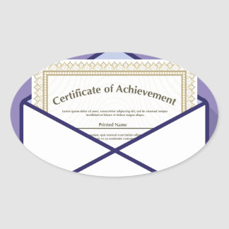 Certificado en vector del sobre pegatina ovalada