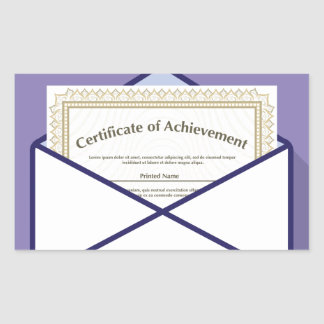 Certificado en vector del sobre pegatina rectangular