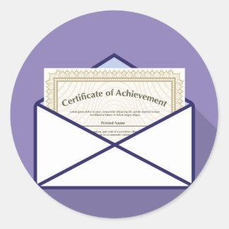 Certificado en vector del sobre pegatina redonda
