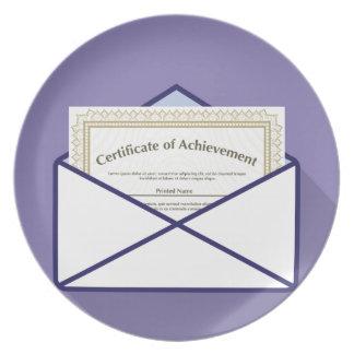 Certificado en vector del sobre plato de comida