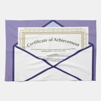 Certificado en vector del sobre toallas de cocina