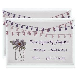 Cervatillo floral rústico de la lavanda de la invitación 8,9 x 12,7 cm