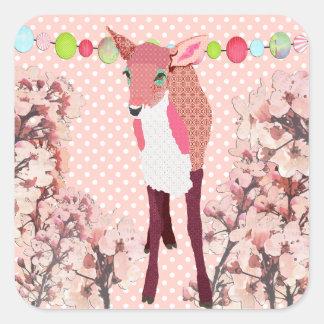 Cervatillo rosado bonito de la flor de cerezo colcomanias cuadradas personalizadas