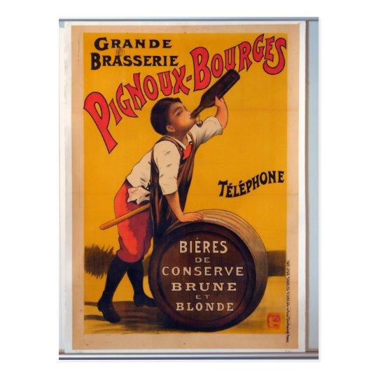 Cervecería del poster de la publicidad de la postal
