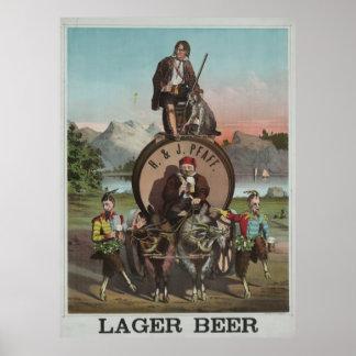 Cerveza de cerveza dorada del H. y del J. [187-?] Póster