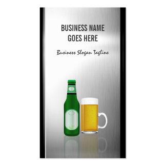 Cerveza de la barra del camarero - metal cepillado tarjetas de visita