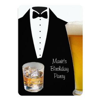 Cerveza de la fiesta de cumpleaños del smoking invitación 12,7 x 17,8 cm