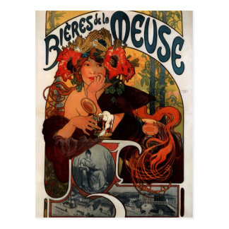 Cerveza de la Mosa de Alfonso Mucha Postal