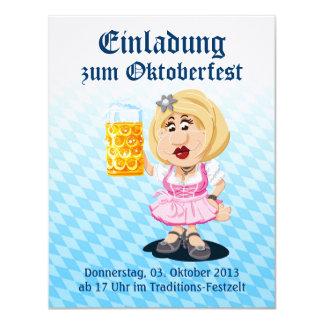 Cerveza de la mujer del dibujo animado del Dirndl Invitaciones Personales