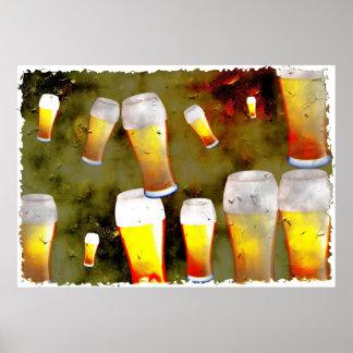 Cerveza del Grunge Póster