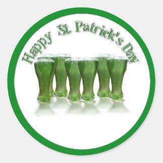 Cerveza del verde del día de St Patrick feliz Pegatina Redonda