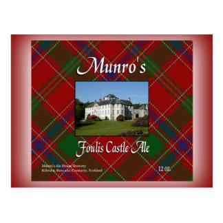 Cerveza inglesa del castillo de Foulis de Munro Postal
