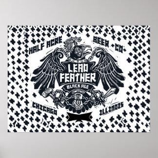 Cerveza inglesa del negro de la pluma de la póster