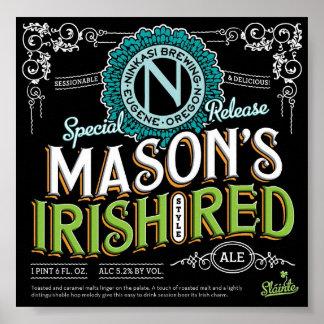 Cerveza inglesa roja irlandesa póster