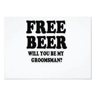 Cerveza libre usted será mi padrino de boda invitación 12,7 x 17,8 cm