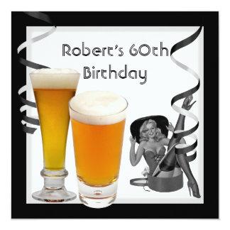 Cerveza MODELA del 60.o de cumpleaños chica retro Invitación 13,3 Cm X 13,3cm