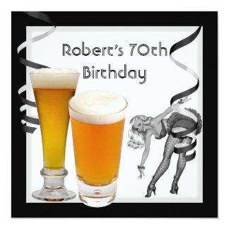 Cerveza MODELA del 70.o de cumpleaños chica retro Invitación 13,3 Cm X 13,3cm