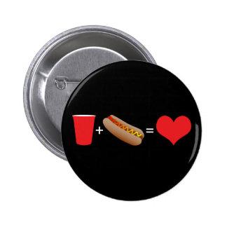cerveza + perritos calientes = amor chapa redonda de 5 cm