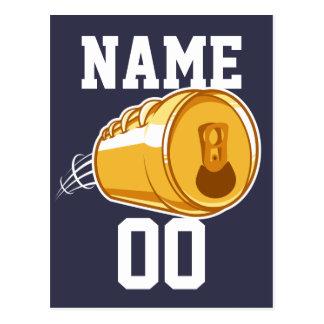 Cerveza personalizada y fútbol postal