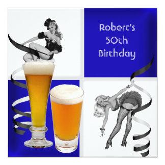Cerveza retra del chica del 50.o control azul para invitación 13,3 cm x 13,3cm