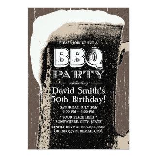 Cerveza rústica del Grunge y 50.a fiesta de Invitación 12,7 X 17,8 Cm