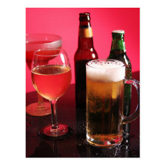 Cerveza vino y margarita tarjetas postales
