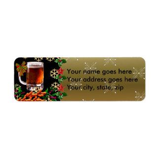 Cerveza y cacahuetes etiqueta de remite