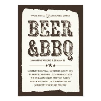 Cerveza y cena rústica del ensayo del Bbq el | Invitación 12,7 X 17,8 Cm