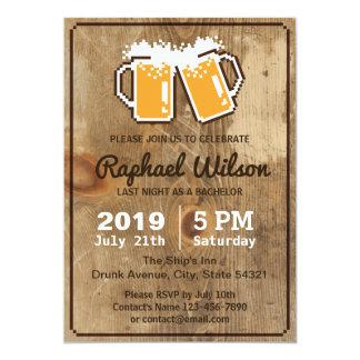 Cervezas frescas del pixel y tarjeta de madera de invitación 12,7 x 17,8 cm