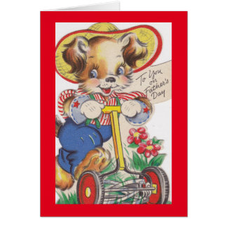 Césped de siega del perro del vintage tarjeta de felicitación