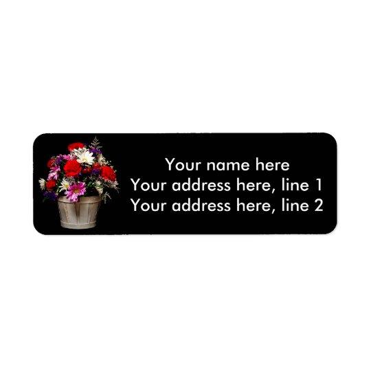 Cesta de flores etiqueta de remite