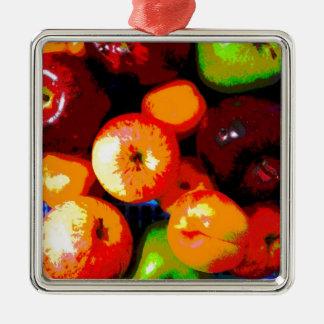 Cesta de fruta adorno cuadrado plateado
