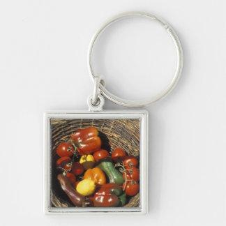Cesta de frutas y verduras en el lugar llaveros personalizados