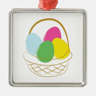 Cesta del huevo de Pascua Adorno Cuadrado Plateado