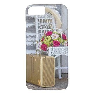 cesta retra de la maleta y de la flor funda para iPhone 8/7