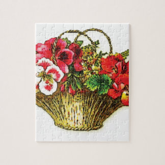 cesta rosada roja de la flor puzzle