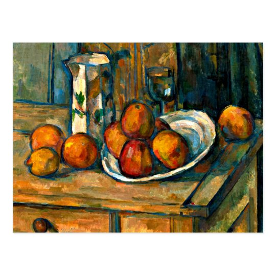 Cezanne - todavía vida con el jarro y la fruta de postal