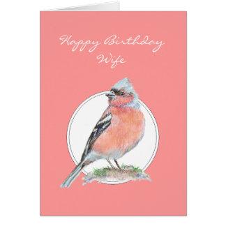Chaffinch, esposa del feliz cumpleaños tarjeta de felicitación