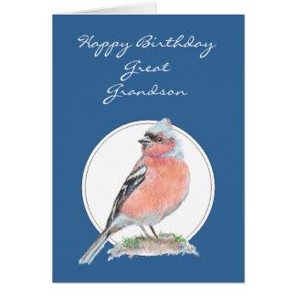 Chaffinch lindo, cumpleaños grande - nieto tarjeta de felicitación