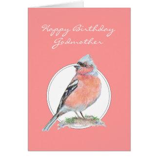 Chaffinch lindo, madrina del feliz cumpleaños tarjeta de felicitación