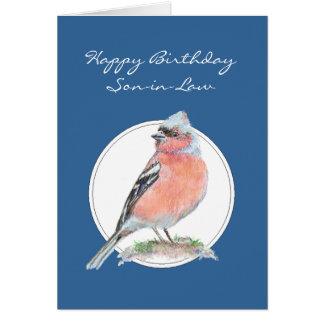 Chaffinch, yerno del feliz cumpleaños, pájaro tarjeta