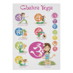 Chakra yoga Girls Illustrations Vertical pósteres Póster