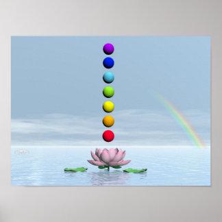 Chakras y arco iris - 3D rinden Póster