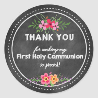 Chalkboard Thank you tag- First Holy communion Pegatina Redonda