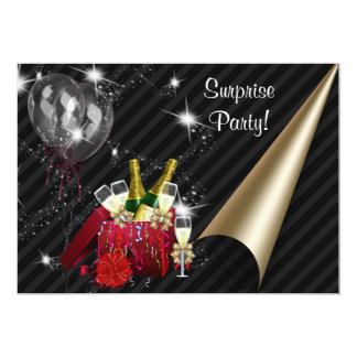 Champán hincha a la fiesta de cumpleaños negra de invitación 12,7 x 17,8 cm