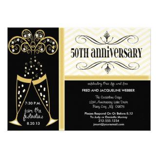 Champán y 50 as invitaciones del aniversario de Ch Invitacion Personalizada