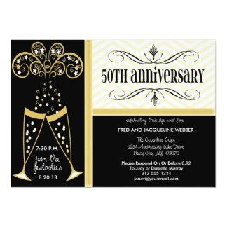 Champán y 50.as invitaciones del aniversario de invitación 11,4 x 15,8 cm